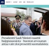 Presidentti Sauli Niinistö nauttii huippusuosiota HS 3.7 2016mavbild 2016-07-03 kl. 07.14.09