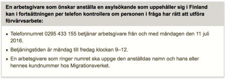 Servicenr till arbgiv för asylsök Finland