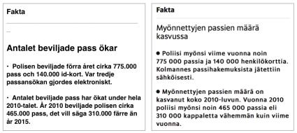 Fakta antal pass Finland