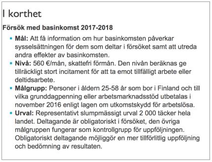Försök med basinkomst 2017-2018