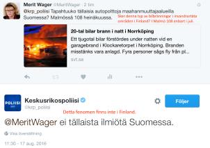 Inga bilbränningar i Finland 17.8 2016