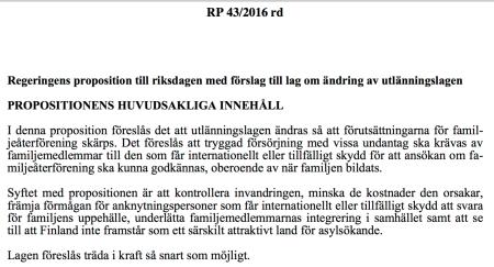 Ny utl.lag RP 43:2016 Finland