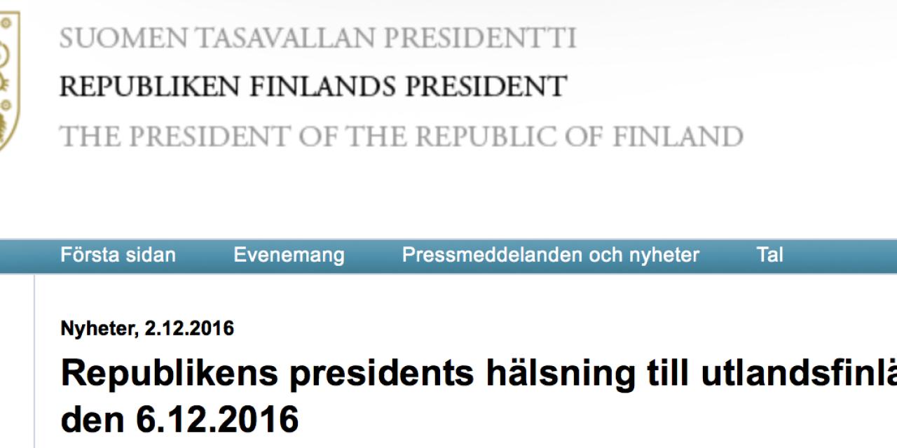 Finland. President Sauli Niinistös hälsning till utlandsfinländarna den 6 december 2016.